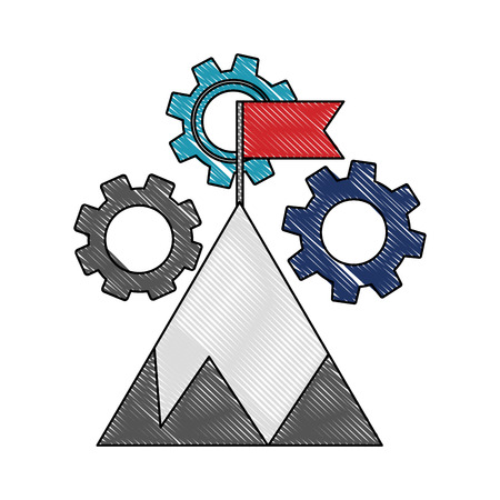 business success start mountain with flag and gears vector illustration color drawing