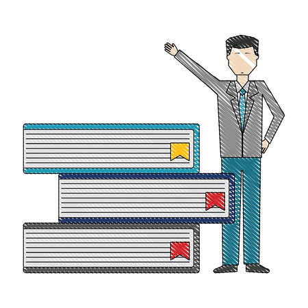businessman with stacked books management vector illustration color drawing