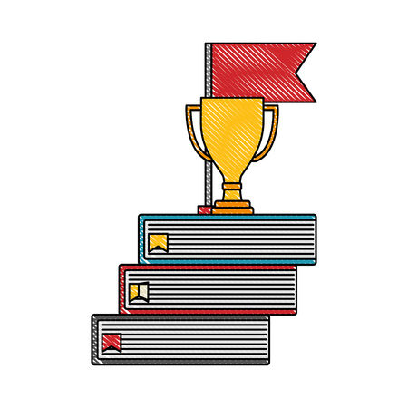 business trophy cup award on pile books flag vector illustration color drawing