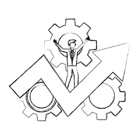 businessman on success arrow business gears vector illustration hand drawing