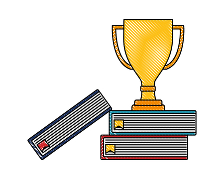 trophy award winner on books top vector illustration color drawing