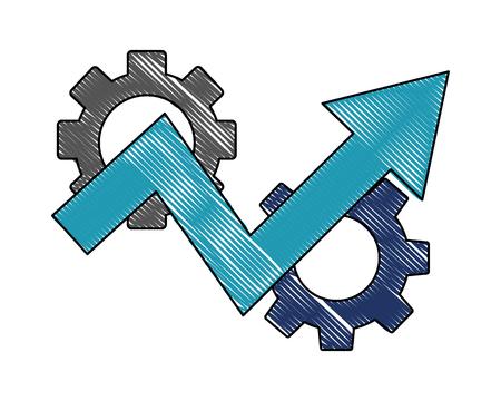 Les progrès de la réussite de l'entreprise flèche engrenages vector illustration dessin en couleur