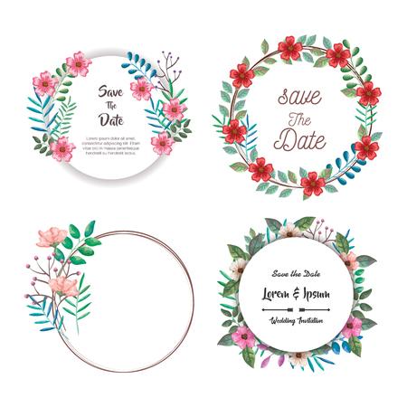 belles fleurs et feuilles frame vector illustration design