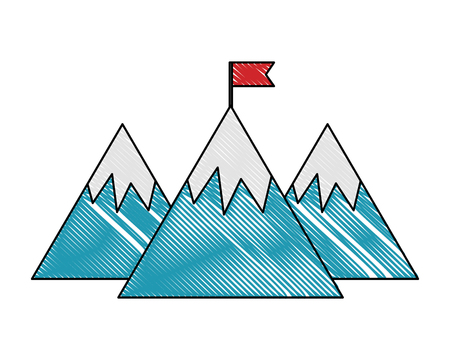 mountains with flag success on the top vector illustration color drawing