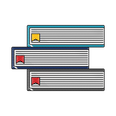 stacked book text bookmark literature vector illustration color drawing
