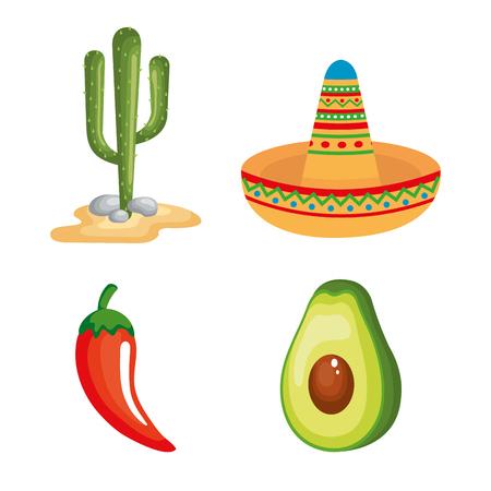 Cultura messicana impostare icone illustrazione vettoriale design