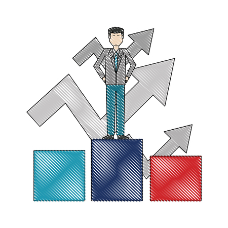businessman with success arrows standing on the podium vector illustration color drawing