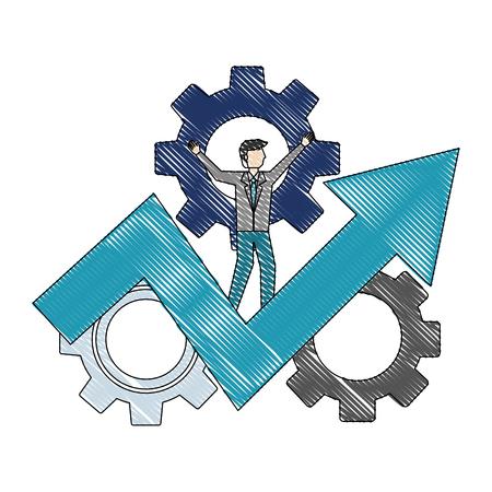 Homme d'affaires sur les engrenages d'affaires flèche succès dessin en couleur d'illustration vectorielle