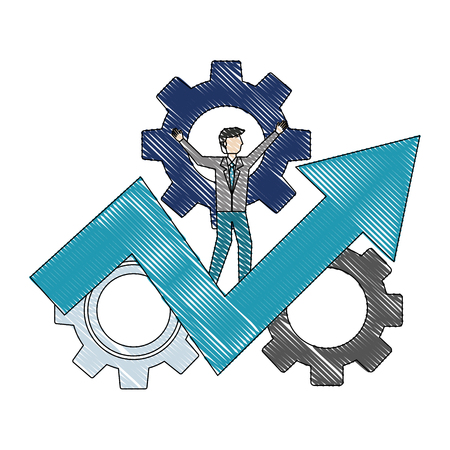 businessman on success arrow business gears vector illustration color drawing