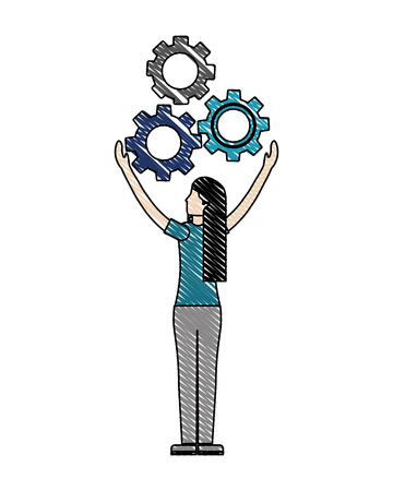 business woman back view with gears work vector illustration color drawing