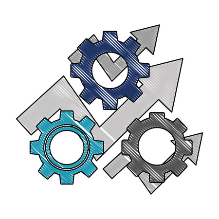 business arrow financial gears progress work vector illustration color drawing  イラスト・ベクター素材