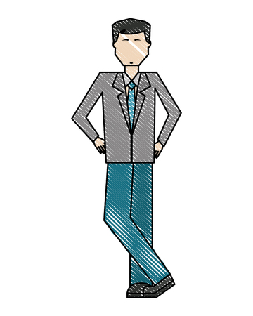 businessman standing character manager work vector illustration color drawing