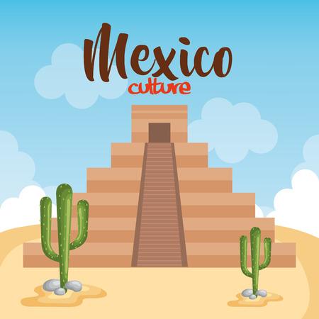 mexican culture mayan pyramid vector illustration design  イラスト・ベクター素材