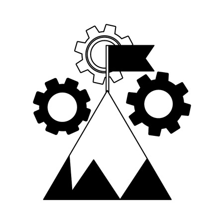 mountain with flag on top and gear machine vector illustration design Çizim
