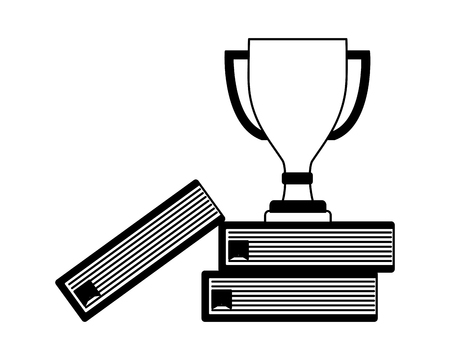 trophy award cup in pile books isolated icon vector illustration design