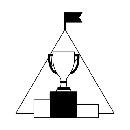 mountain with flag and trophy cup in podium vector illustration design Çizim