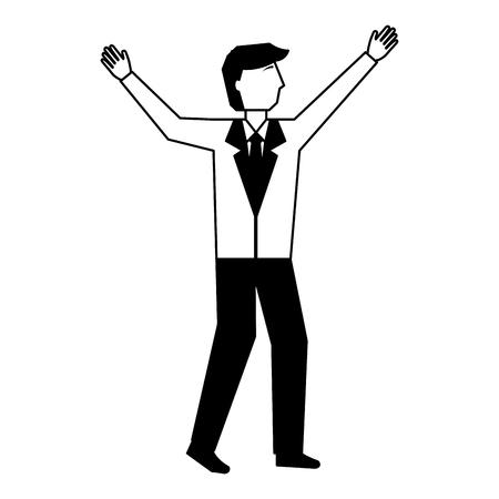 businessman celebrating avatar character vector illustration design