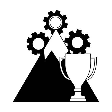 mountain with gear machine and trophy cup vector illustration design