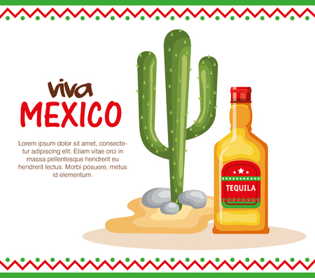 mexican culture cactus with tequila vector illustration design Illustration