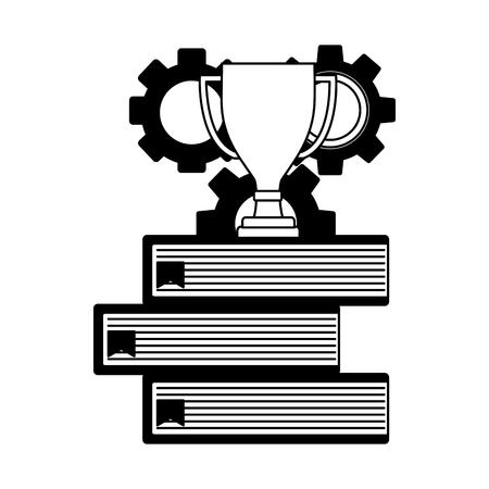 macchina ad ingranaggi con libri pila e disegno di illustrazione vettoriale tazza trofeo