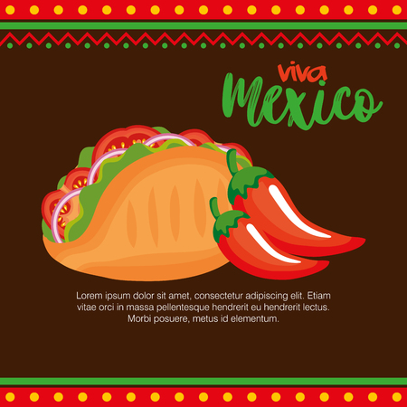 mexican chili pepper with taco vector illustration design