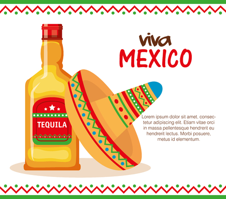 mexican culture traditional hat and tequila vector illustration