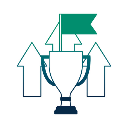 trophy award cup with arrows up and flag vector illustration design Illustration