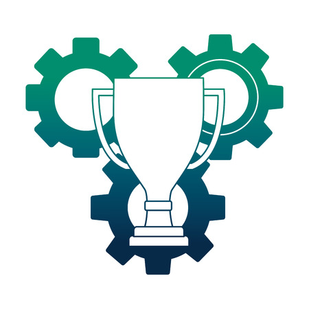 gear machine with trophy cup isolated icon vector illustration design Ilustrace