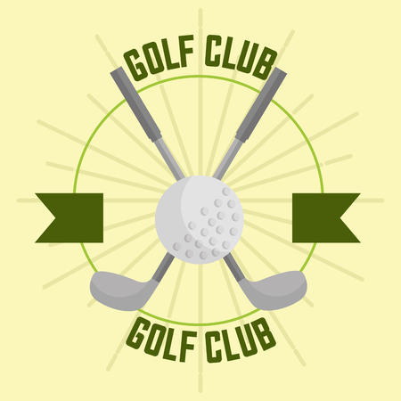 crossed golf club and ball sport banner vector illustration vector illustration Ilustração