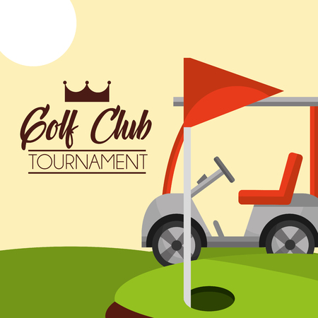 golf club tournament red flag on course vector illustration vector illustration