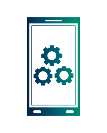 smartphone device with gear machine isolated icon vector illustration design 向量圖像
