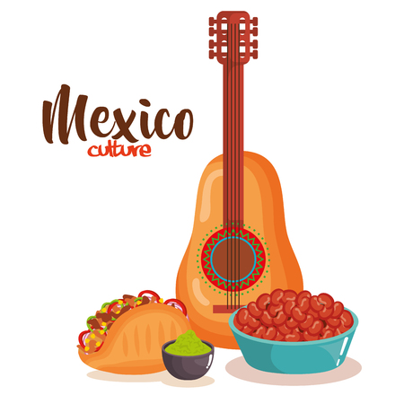 delicious mexican food with guitar vector illustration design Stock Illustratie