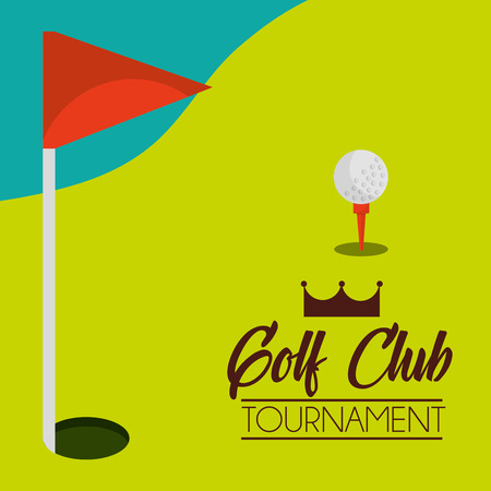 golf club tournament course and red flag vector illustration