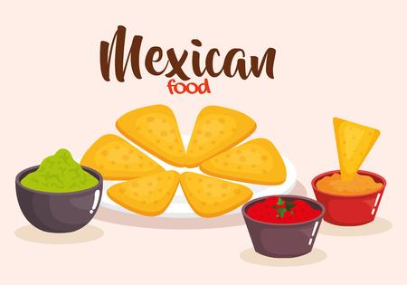 delicious mexican nachos with sauces vector illustration design