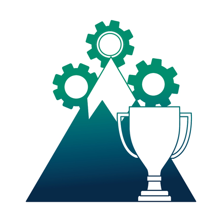 mountain with gear machine and trophy cup vector illustration design Archivio Fotografico - 111977286