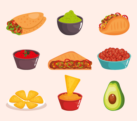 delicious mexican food icons vector illustration design 向量圖像