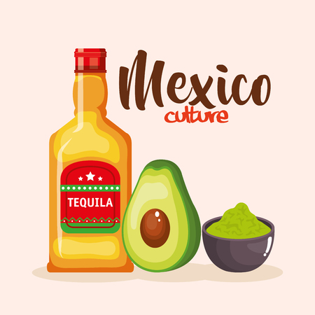 mexican tequila and guacamole sauce vector illustration design Illustration