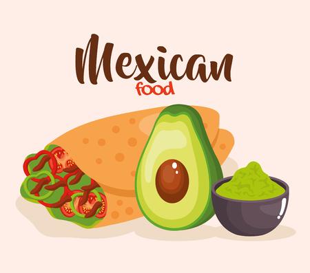 delicious mexican burrito icon vector illustration design Vector Illustration