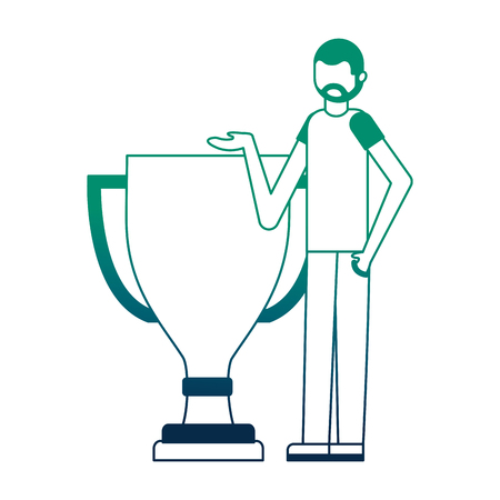 young man with trophy award cup isolated icon vector illustration design Illustration
