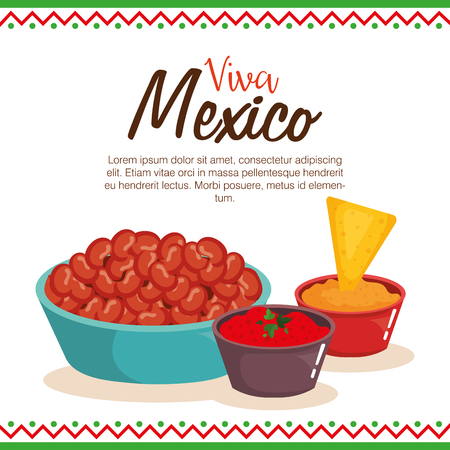 delicious mexican food and sauces vector illustration design