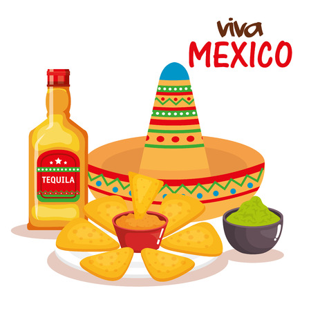 delicious mexican nachos with sauces and tequila vector Illustration