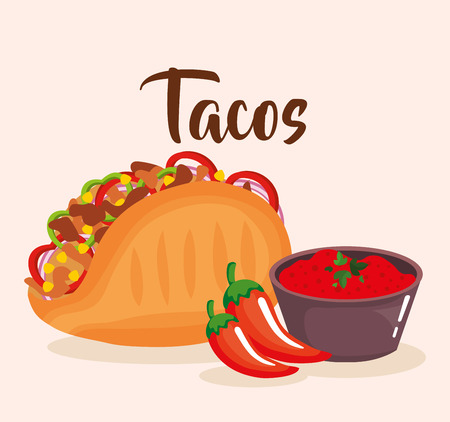 delicious mexican tacos with sauces vector illustration design