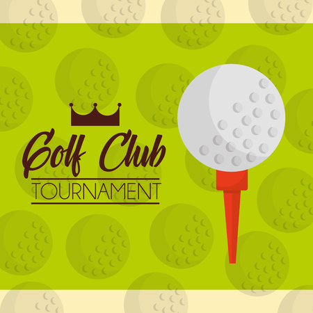 ball on a tee golf club tournament green balls background vector illustration