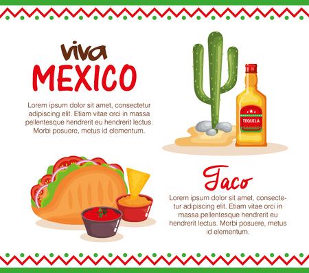 Deliciosa comida mexicana, diseño de ilustraciones vectoriales iconos