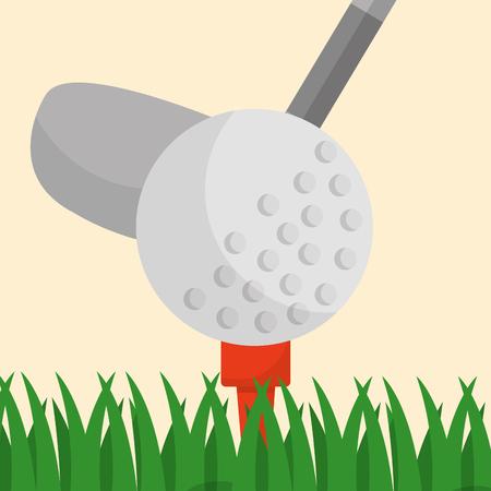 golf club ball on a tee grass sport vector illustration Stock Illustratie