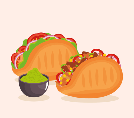 delicious mexican food icons vector illustration design Ilustrace