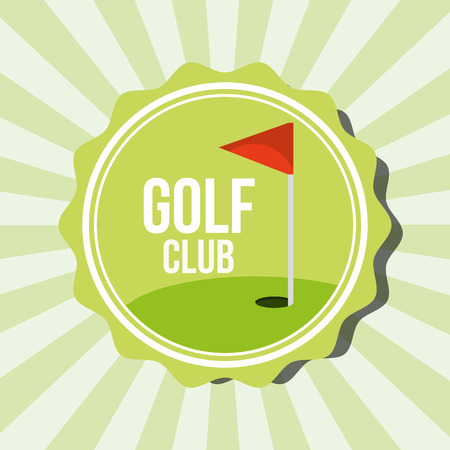 golf club red flag on field stamp vector illustration vector illustration Ilustração