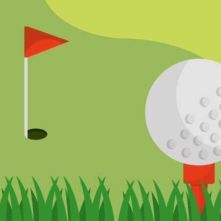 golf field red flag ball on tee vector illustration vector illustration