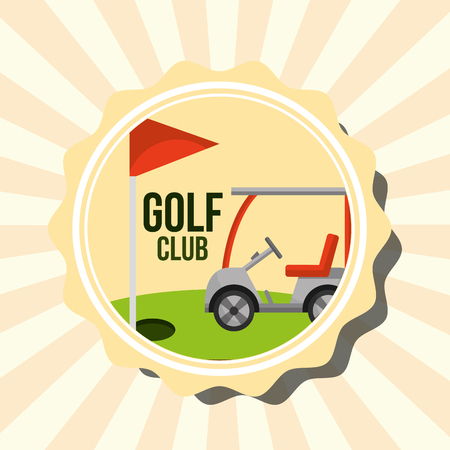 retro golf club car and red flag stamp vector illustration vector illustration