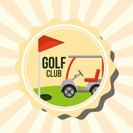 レトロゴルフクラブカーと赤旗スタンプベクトルイラストイラスト
